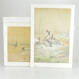 """Paul Sawyier Limited Edition Prints """"Hemp Harvest"""" and """"The Hemp Breaker"""": A pair of limited edition offset lithograph prints after Paul Sawyier (1865-1917). Hemp Harvest depicts a landscape scene featuring a worker holding hemp in hand and standing next to the brake. It is numbered 2541 out of 3000, copyrighted 1991, and includes a certificate of authenticity from Frankfort Blue Print & Supply Co. of Frankfort, KY. The Hemp Breaker shows the hatted worker pulling hemp through the brake, which was a wooden machine that separated the fibers. The print is numbered 213 out of 500, copyrighted 2007 by Paul Sawyier Galleries of Frankfort, KY, and includes a certificate of authenticity."""