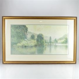 """Paul Sawyier Limited Edition Print """"Cliffs on the Kentucky"""": A limited edition offset lithograph print of Cliffs on the Kentucky after Kentucky artist Paul Sawyier (1865-1917). This piece captures a river side landscape of water in the foreground with trees and foliage in the background. The print is one out of 1250 and is presented matted under glass in a gold and black molded frame."""