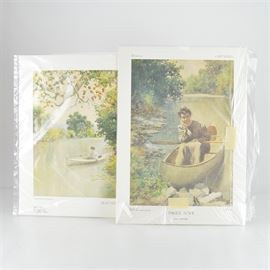 """Paul Sawyier Limited Edition Prints """"Mayme on the Elkhorn"""" and """"Paul's Love"""": A pair of limited edition offset lithograph prints after Kentucky artist Paul Sawyier (1865-1917). Paul's Love shows Mayme Bull posing in a canoe in the Elkhorn Creek, looking directly at the viewer. It is numbered 2399 out of 3000, copyrighted 1990, and includes a certificate of authenticity from Frankfort Blue Print Co. of Frankfort, KY. Mayme on the Elkhorn shows a distant view of her in a canoe with greenery on the right hand side. The 1978 print is numbered 1281 out of 2500 and includes a certificate of authenticity from Paul Sawyier Galleries, Inc. of Frankfort."""