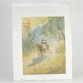 """Paul Sawyier Limited Edition Offset Lithograph """"On a Sunday Afternoon"""": A limited edition offset lithograph print of On a Sunday Afternoon after Kentucky artist Paul Sawyier (1865-1917). This piece features a man and a woman riding in a horse drawn carriage on a country lane. The print is numbered 35 out of 3500, copyrighted in 1985 by the Paul Sawyier Galleries, Inc. of Frankfort, KY, and includes a certificate of authenticity."""