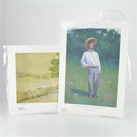 """Paul Sawyier Limited Edition Prints """"Young Kentucky Fisherman"""" and """"Fisherman's Catch"""": A pairing of limited edition offset lithograph prints after Kentucky artist Paul Sawyier (1865-1917). Young Kentucky Fisherman features a close up view of a young man wearing a wide brimmed hat and holding a pail and a fishing pole. It is numbered 83 out of 375,copyrighted in 2010 by the University of Kentucky Art Museum. Fisherman's Catch depicts a similar theme of fishing, showing the view of a fisherman walking along a country road with his daily catch. It is numbered 32 out of 3000, copyrighted 1975 by the Paul Sawyier Galleries. Each one includes a certificate of authenticity."""