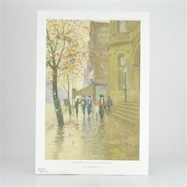 """Paul Sawyier Limited Edition Print """"A Rainy Day In Lexington"""": A limited edition offset lithograph print of A Rainy Day in Lexington after Kentucky artist Paul Sawyier (1865-1917). This piece depicts a rainy street scene with figures walking down the sidewalk in front of the U.S. Custom House and Post Office at East Main and Walnut Street in Lexington, KY. The print is numbered 505 out of 950, copyrighted 2008 by the Paul Sawyier Galleries of Frankfort, KY, and includes a certificate of authenticity."""