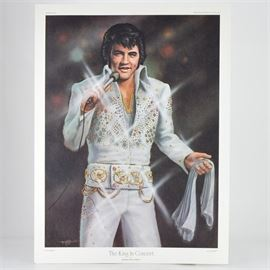 """After Michael Duval Finnell Limited Edition Print """"The King in Concert"""": A limited edition offset lithograph print of The King in Concert after Michael Duval Finnell. This piece is a reproduction of an oil painting featuring Elvis Presley in a sparkling white outfit, holding a microphone singing in concert. The print is numbered 679 out of 1000 and includes a certificate of authenticity from Frankfort Blue Print, Co. of Frankfort, KY."""