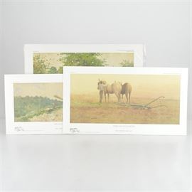 """Paul Sawyier Limited Edition Prints """"The Good Earth,"""" """"Heading Home"""" and """"Berry Pickin'"""": A group of three limited edition offset lithograph prints after Kentucky artist Paul Sawyier (1865-1917). The Good Earth features a man in the middle of a field with his plow and horses. It is numbered 346 out of 750, copyrighted 2005 by the Paul Sawyier Galleries of Frankfort, KY. Heading Home depicts a family headed home after a day of work, and it is numbered 235 out of 500, copyrighted 2007 by the Paul Sawyier Galleries. Berry Pickin' shows two figures walking down a country road with berry pails, and it is numbered 89 out of 2500, copyrighted 1984 by Frankfort B/P, Inc. Each print includes a certificate of authenticity."""