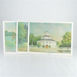 """R. Michael Shannon Signed Prints of """"Scenes of the Blue Grass"""": A set of four offset lithograph prints of Scenes of the Blue Grass by Kentucky artist R. Michael Shannon. This group includes Thoroughbreds in Blue Grass, Entrance to Keeneland, Old Sale Barn, and Stable of Memories. Each print is signed by the artist in pencil along the bottom left hand edge, copyrighted 1978 by Arts Limited."""