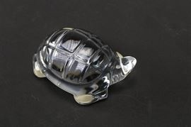 """Baccarat Turtle Figurine: A Baccarat France crystal turtle. The turtle has its head turned and a neatly segmented back. The bottom is marked """"Baccarat France."""""""