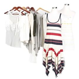 Women's Designer Clothing Including Burberry: A large assortment of women's designer clothing. The assorted group includes a green corduroy patchwork skirt by Burberry, as well as a white bodycon skirt by Dolce & Gabbana with a zipper closure in the back. Also included are cashmere, beige V-neck sweater by Amina Rubinacci Napoli; a white tank top with silver toned open buttons with a mesh accent and a floral piece in the center by Philosophy Di Alberta Ferretti; and a gray, cashmere cardigan with ruffle accents to the front made by Garnet Hill. The group also features a white, red, and blue striped tank top dress by Ralph Lauren, a strapless white dress with yellow sunflowers and stripes by Lilly Pulitzer, and a pair of white True Religion denim jeans. Each piece included features the manufacturer's tag to the interior.