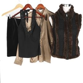 Women's Clothing Including Ferragamo and Mink Accented Vest: An assortment of women's clothing. The group includes a black cotton bodycon skirt by Salvatore Ferragamo with a gold tone button at the waistline; a beige collared top by Armani Collezioni; a black halter top by Caché with black geometric accents along the collar and a zippered vest with mink fur accents. Each piece, excluding the mink vest, features a manufacturer's label to the interior.