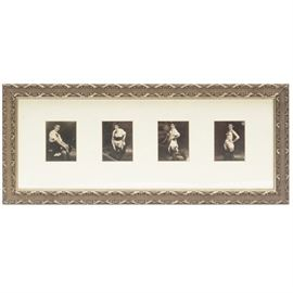 Vintage Pin-Up Photographs: A group of framed vintage World War II era pin-up photographs. It is presented in an off-white matte and a beautiful silver tone wood composite frame.