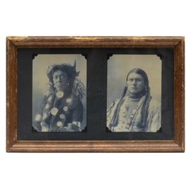 Native American Indian Portrait Photographs After Edward S. Curtis: A pair of Native American portrait photographs after Edward C. Curtis. The originals of these images were included in The Illusion of the American Frontier exhibition at The Museo Thyssen-Bornemisza of Spain. It is framed in a wood composite moulding.