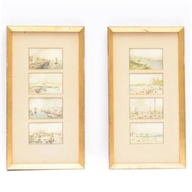 Pair of 19th Century English Framed Postcards: A pair of framed 19th century English postcards. One frame includes four postcards each. Within these postcards depict images of the coast, castles, the Thames River and others. They are presented in beige mattes and shiny gold tone mouldings.
