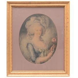 Vintage Offset Lithograph of Marie Antoinette: Vintage Offset Lithograph of Marie Antoinette after the 18th century painting by Louise Élisabeth Vigée Le Brun (16 April 1755 – 30 March 1842), also known as Madame Lebrun, was a prominent French painter. It is presented behind glass, an oval maroon matte, and a adorned gold tone wood frame.
