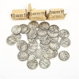 Collection of Walking Liberty Half Dollars: A collection of walking liberty half dollars. The collection consist of 80 coins. Some of the coins come wrapped in Bank Sleeves.