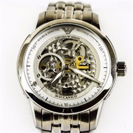 Men's Emporio Armani Skeleton Wristwatch: A men's stainless steel Emporio Armani skeleton wristwatch featuring 20 jewels, automatic movement, and a skeleton dial and case back with a stainless steel link bracelet and butterfly deployment clasp. It is in working condition.