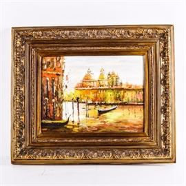 Oil Painting on Canvas: An oil painting on canvas. The work depicts The Church of the Salute overlooking boats in the Grand Canal in Venice in hues of yellow, orange, pink, and green. The piece is signed by the artist on the lower right corner but the signature is illegible. The work is set in an ornate gilt wood frame.