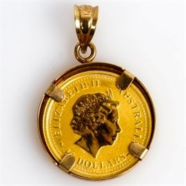 "2005 Australia 24K Yellow Gold Rooster Coin Pendant: A 2004 Australia $15 dollar coin pendant with a gold content of 1/10 oz of .9999 gold. To obverse, the Ian Rank-Broadley likeness of Her Majesty Queen Elizabeth II along with the purity and monetary denomination and to reverse the Chinese character for ""rooster"", the date 2005, and gold content."