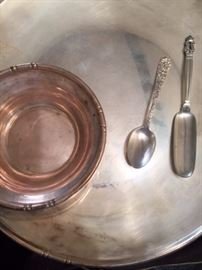 Sterling, incl georg jensen scoop, reposse, bamboo pattern tray and bowl and other engraved pieces.