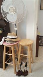 Floor Fan, Wood Stools