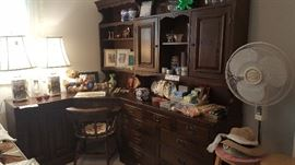 3 Piece Unit, End Cabinet, Corner Desk with Display Hutch, Dresser or Hutch with Display. Two Lamps, Chair