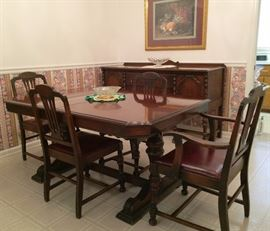 Vintage Table, Chairs, & Sideboard (1930s?) There is a Matching Server.