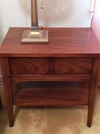 One of Two: Two Tone Walnut and Oak Kent Coffey Sculpted Front End Table 1960s Perspecta Collection