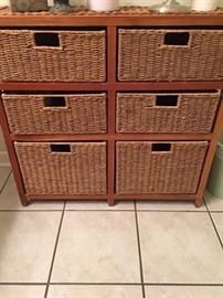 Cute Woven Storage Unit with Removable Storage Baskets