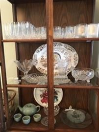 Large Collection of Crystal, Vintage Turkey Platter made in the USA
