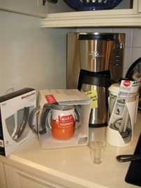 Brand new Bodun tea press, kitchen aid mixer accessory mixing blade, coffee maker and more