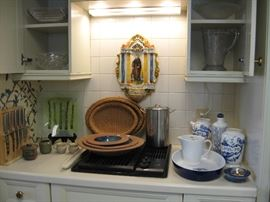 Lots of kitchen items to chose from platters, depression glass , knife sets, kitchen tools.
