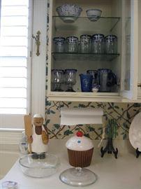 Hand blown glass set, cookie jar