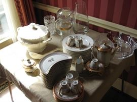 Lovely covered tourine, Czech tea set, and more
