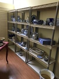 I've arranged some of the china pieces on these shelves for easy viewing. It's an incredible collection!