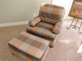 Hickory White Chair and Ottoman