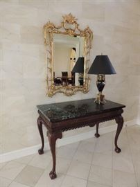 Carved Wood and Marble Entry Table / Mirror / Lamp