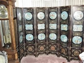 AMAZING ANTIQUE SIX PANEL LACQUER CLOISONNE SCREEN