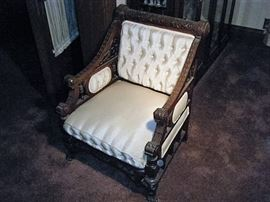 VERY NICE CARVED WALNUT VICTORIAN CHAIR