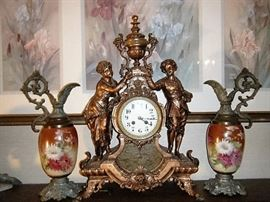EXTREMELY FINE VICTORIAN  CLOCK WITH PAIR OF URNS