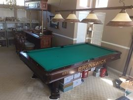 Brunswick Championship Pool table with inlay mother of pear. BEAUTIFUL! Autographed by Karen Corr Billiards Hall of Fame - A Greatest Player of All Time