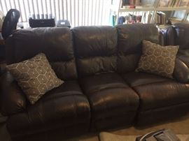 Leather Sofa with two end recliners