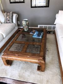 "BEAUTIFUL WOOD BURL AND GLASS COFFEE TABLE- 48""LONG X 30""WIDE X 15""TALL"