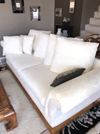 "CREAM JACQUARD FABRIC AND WOODEN BOTTOM SOFA COUCH WITH PILLOWS - 90"" LONG X 38""WIDE X 29""TALL"