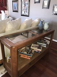 "WOOD AND GLASS LONG SOFA TABLE WITH BOTTOM DRAWERS - 52""LONG X 18""WIDE X 28.5"" TALL"