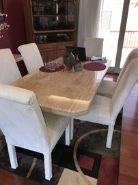 "GORGEOUS STONE AND MARBLE VENEER LONG DINING TABLE WITH CHAIRS - 78""LONG X 39""WIDE X 29.5""TALL"