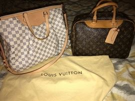 GENUINE LOUIS VUITTON HANDBAGS- DEAUVILLE BAG AND DAMIER AZUR SIRACUSA GM BAG