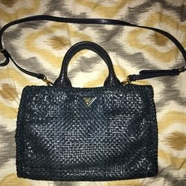 AUTHENTIC PRADA WOVEN DARK BLUE LEATHER HANDBAG WITH SHOULDER STRAP