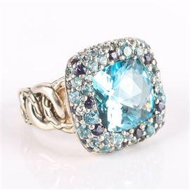 "John Hardy Silver ""Batu"" Ring with Blue Topaz, Aquamarine, Light Iolite and Swiss Blue Topaz: A John Hardy silver ""Batu"" ring from the Classic Chain collection."