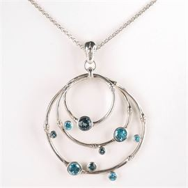 """Sterling Silver John Hardy """"Bamboo"""" Blue Topaz Necklace: A John Hardy """"Bamboo"""" blue topaz pendant on a link chain."""