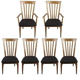 Contemporary Dining Chairs: A set of six contemporary style dining chairs. The set includes two captain's chairs and four without arms. The chairs have stained maple wood frames with four vertical slats to the back and upholstered black patterned seats.