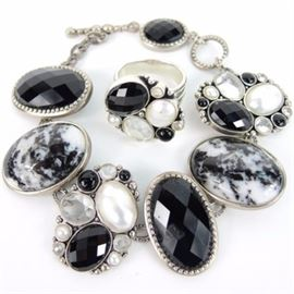 Sterling White Sapphire, Onyx, Pearl Ring and Bracelet: A set of black and white jewelry in sterling silver which includes a link bracelet and matching ring by Dream. Items are stamped 925.