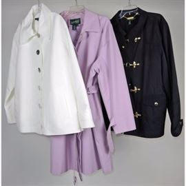 Women's 3X Ralph Lauren Rain Jackets: A Spring collection of women's 3X Ralph Lauren rain jackets. This attractive assortment features a white short jacket with silver tone anchor embellished buttons and side slit pockets, a lavender full-length belted raincoat with side pockets and a black short jacket with gold tone hook closures and outer pockets. All three jackets have nylon and cotton shells and 100% acetate linings.